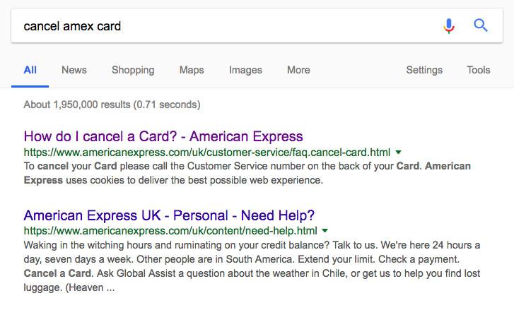 Cancel Amex card Google Search