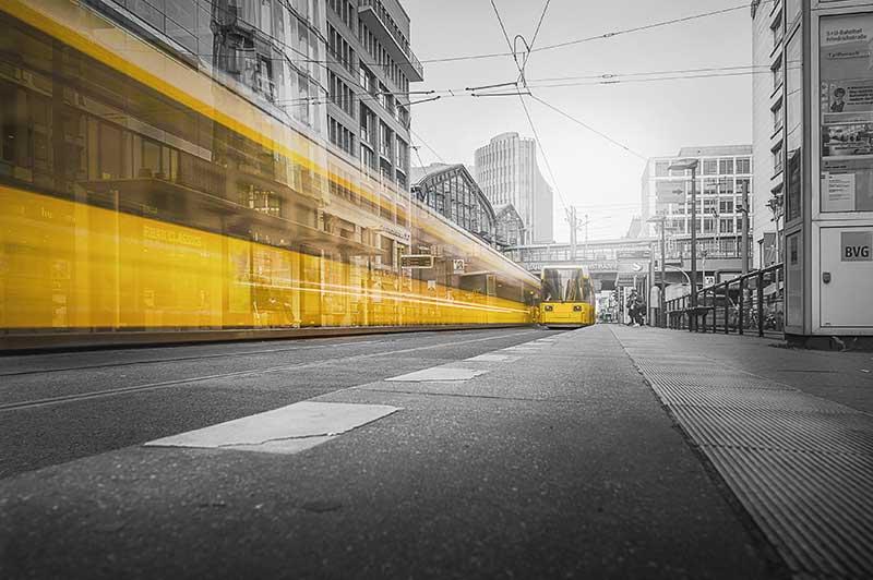 Architecture asphalt Berlin metro, metaphor for length