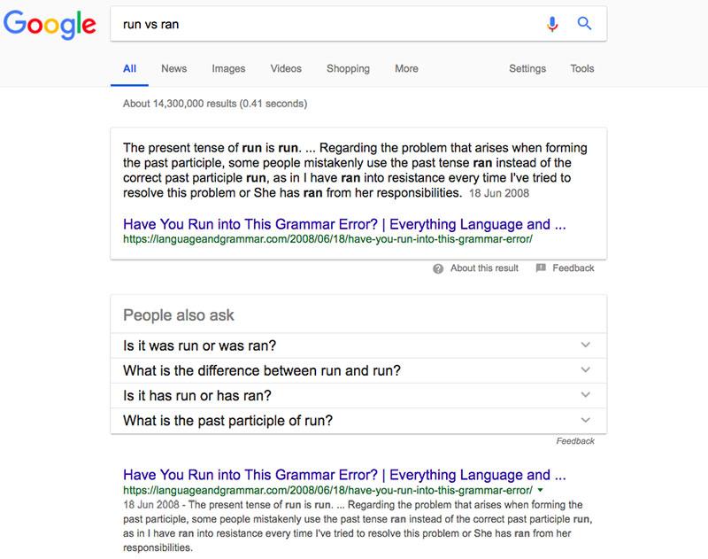 Run vs Ran Google Search